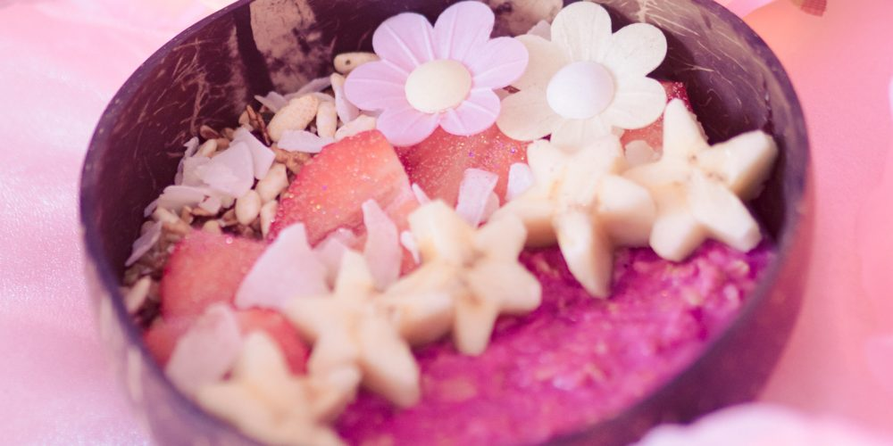 Tropical Protein Pink Porridge with Pretty Pea Protein Powder and Raw Nice Pink Pitaya Powder for GERD and Gastroparesis (Vegan + Dairy-Free + Gluten-Free) [AD-Gifted]